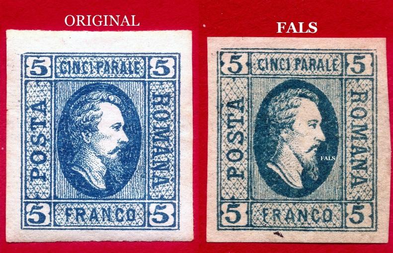 1865 Prince Cuza 5 parale bleu coomparat cu fals