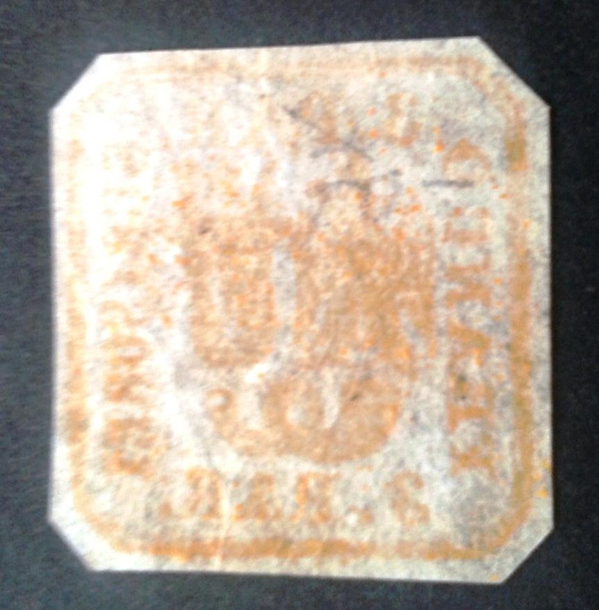 1862 Principatele unite tipar de mana 3 parale nou, guma originala fara sarniera verso
