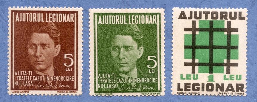 1940 Ajutorul Legionar Corneliu Zelea Codreanu + stema legionara 3v.