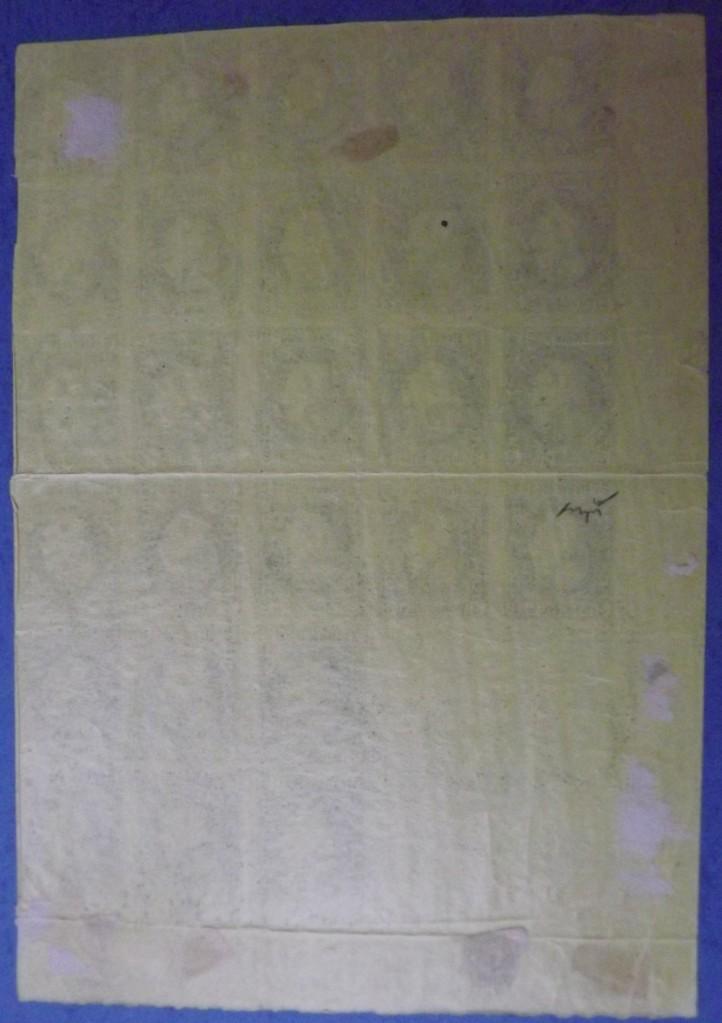 1867 CAROL I cu favoriți 2 PAR hârtie subțire BLOC DE 26 TIMBRE guma originala VERSO