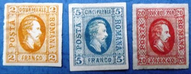 1865 Domnitorul Cuza LP 15-16-17 cu sarniera Mi 11-13 Yt 11-13