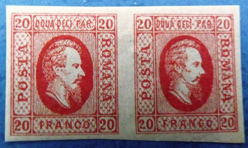 1865 Domnitorul Cuza pereche 20 par rosu