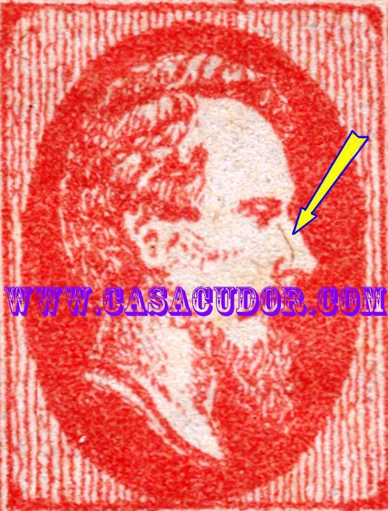 1865 CUZA efigia in oval 20 par rosu varietate DETALIU linie pe nas