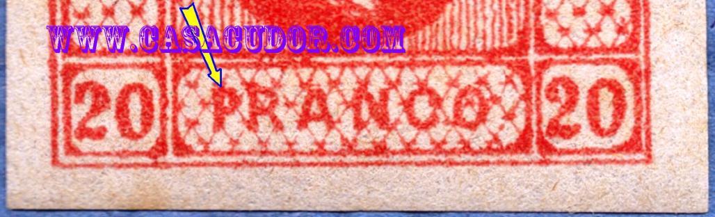 1865 CUZA efigia in oval 20 par rosu varietate PRANCO DETALIU PRANCO