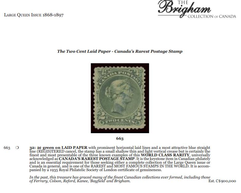 1868-1897 2¢ green on LAID PAPER