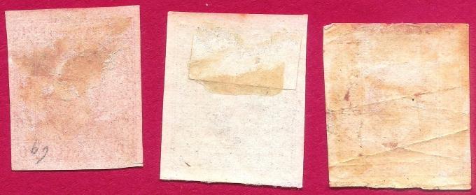 1865 Domnitorul Cuza serie 3v. neuzate, guma originală, toate marginile bine aspectate LP 15-17, Mi 11-13, Yt 11-13 Sc 22-24  verso