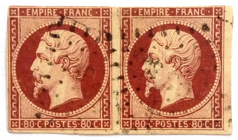1853 80C CARMIN FONCE SUR PAILLE EN PAIRE Yt 17Ac = 2 x 155x2 Eur