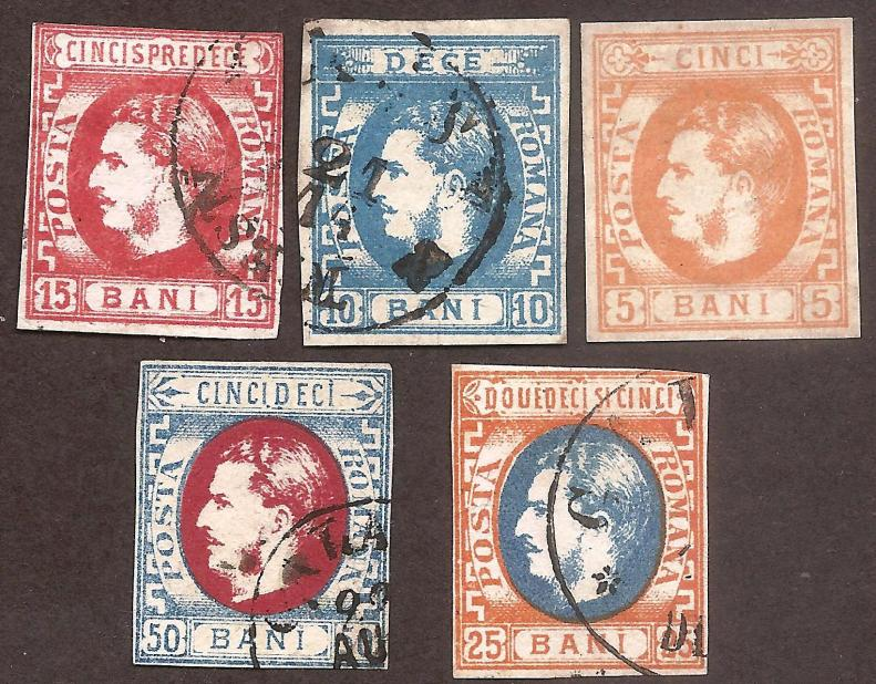 1869 CAROL I CU FAVORITI serie 5v LP 25-29 5 bani nestampilat fara guma