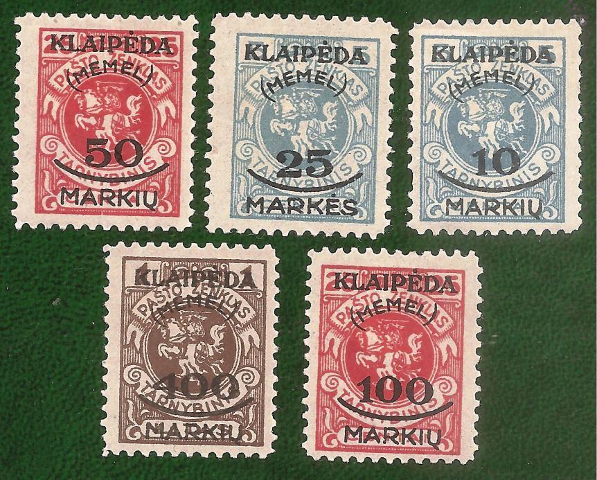 1923 Memel KLAIPEDA - 5 timbre supratipar, guma originala, nestampilate